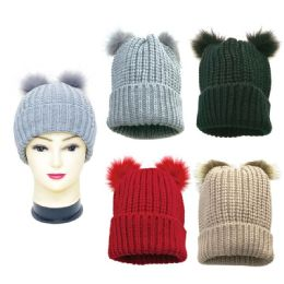 36 Units of Women's Knitted Pom Pom Hat - Winter Hats