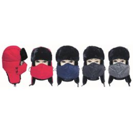 24 Units of Winter Fashion Fur Ski Hat With Mask - Unisex Ski Masks