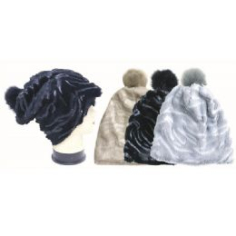 36 Units of Women Winter Fashion Plush Beanie Hat With Pom Pom - Winter Beanie Hats