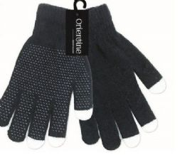 96 Units of Winter Touch Gloves In Black - Conductive Texting Gloves