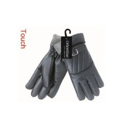 24 Units of Mens Touch Glove Man Made Leather - Conductive Texting Gloves
