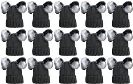 15 Units of Double Pom Pom Ribbed Winter Beanie Hat, Multi Color Pom Pom Solid Gray - Fashion Winter Hats