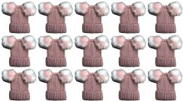 15 Units of Double Pom Pom Ribbed Winter Beanie Hat, Multi Color Pom Pom Solid Pink - Fashion Winter Hats