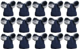 15 Units of Double Pom Pom Ribbed Winter Beanie Hat, Multi Color Pom Pom Solid Navy - Fashion Winter Hats