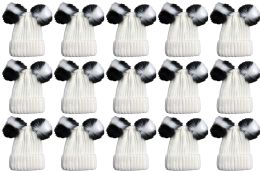24 Units of Double Pom Pom Ribbed Winter Beanie Hat, Multi Color Pom Pom Solid White - Winter Hats
