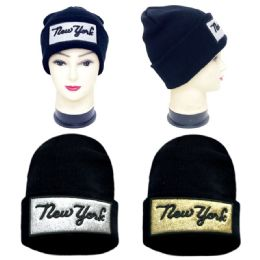 36 Units of Unisex Knitted Winter Hat New York Print - Winter Beanie Hats