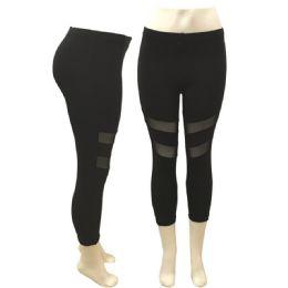 24 Units of Lady's Sports Leggings In Black - Womens Leggings