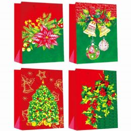 144 Units of Gift Bag Xmas Four Pack 4.5x5.75x2.5 - Gift Bags Christmas