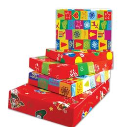 96 Units of Four Piece Xmas Gift Box Size Large - Gift Bags Christmas