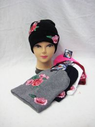 36 Units of Womens Printed Rose Beanie Hat - Winter Beanie Hats