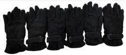 36 Units of Mens Black Fleece Winter Gloves - Fleece Gloves