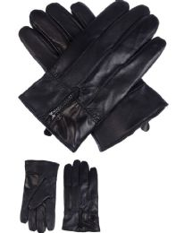 36 Units of Mens Leather Winter Gloves With Zipper Design - Leather Gloves