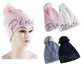 60 Units of Woman's Fur Lined Beanie Hat With Pompom - Winter Beanie Hats