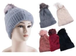 60 Units of Woman's Fur Lined Suede Solid Color Beanie Hat - Winter Beanie Hats