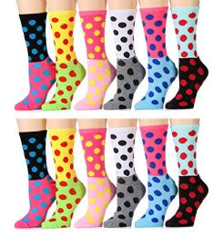 240 Units of 12 Pairs of WSD Womens Printed Crew Socks Many Colors, Soft Touch Fun Prints (Pack C) (9-11) - Womens Crew Sock
