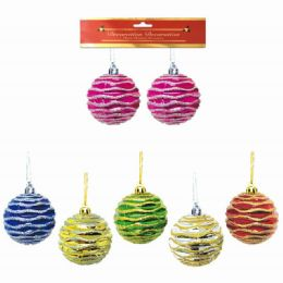 96 Units of Eight Centimeter Two Pack Xmas Ball - Christmas Ornament