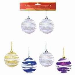 96 Units of Eight Centimeter Two Pack Xmas Ball Assorted Colors - Christmas Ornament