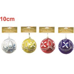 96 Units of Xmas Ten Centimeter One Pack Ornament Ball - Christmas Ornament