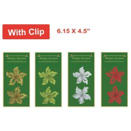 96 Units of Bow With Clip - Christmas Ornament