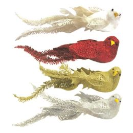 144 Units of Glitter Bird With Clip - Christmas Ornament