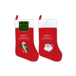 96 Units of Xmas Stocking With Embroidery Eighteen Inch - Christmas Stocking