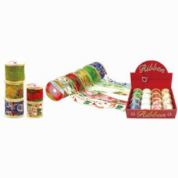 96 Units of Christmas Gift Ribbon Three Yards - Christmas Gift Bags and Boxes