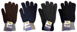 48 Units of Knitted Glove Adult Size - Knitted Stretch Gloves