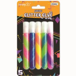 96 Units of Swirl Glitter Glue Five Piece Pack - Craft Glue & Glitter