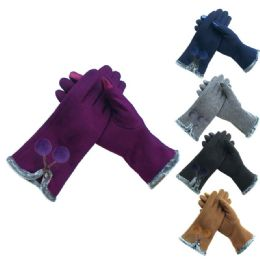 72 Units of Ladies Fashion Texting Gloves With Pompom Design - Conductive Texting Gloves