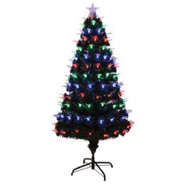2 Units of Four Foot Xmas Optical Fiber Tree With Leaf Led UL - Christmas Ornament