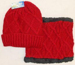 24 Units of Fleece Lined Ski Hat With Neck Warmer - Winter Sets Scarves , Hats & Gloves