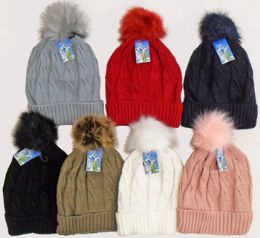 36 Units of Ski Hat With. Fur Pom Pom And Lining - Winter Sets Scarves , Hats & Gloves