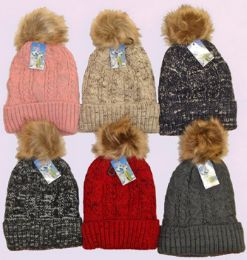 36 Units of Ski Hat With Pom Pom And Lining - Winter Sets Scarves , Hats & Gloves