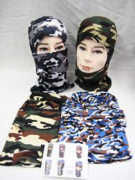 48 Units of Winter Warm Assorted Color Chamo Ski Mask - Unisex Ski Masks
