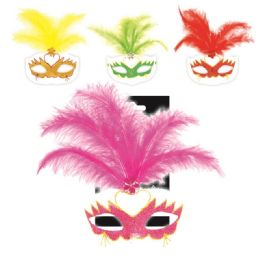 120 Units of Feather Masquerade Mask - Costumes & Accessories
