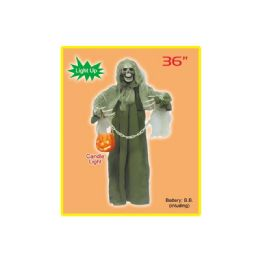 24 Units of Thirty Six Inch Hanging Ghost With Light Up Lantern - Costumes & Accessories