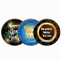 144 Units of Happy New Year Paper Plate Eight Count Nine Inch - New Years