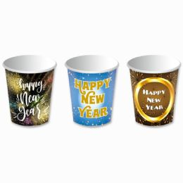144 Units of Happy New Year Paper Cup Ten Count Nine Ounce - New Years