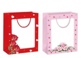 144 Units of Gift Bag With Window XLarge Valentines - Valentine Gift Bag's