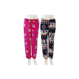 48 Units of Ladies Fleece Pajama Pants - Women's Pajamas and Sleepwear