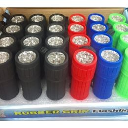 72 Units of 9 Led Flashlight With Rubber Grip Assorted Colors - Flash Lights