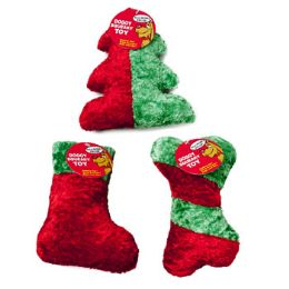 36 Units of Dog Toy Christmas Chenille With Squeaker 3 Shapes - Christmas Novelties