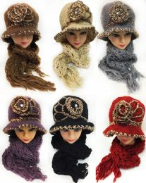 12 Units of Winter Knitted Lady Hat And Scarf Set Assorted Colors - Winter Sets Scarves , Hats & Gloves