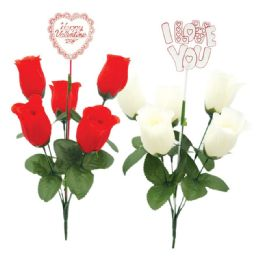 96 Units of Valentines Day Five Head Rose - Valentine Decorations