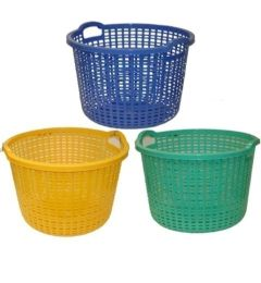 10 Units of ROUND PLASTIC LAUNDRY BASKET 21X14IN - Laundry Baskets & Hampers