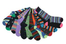 12 Units of Mens Funky Printed Dress Socks, Mixed Patterns - Mens Dress Sock