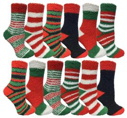 12 Units of Yacht & Smith Christmas Fuzzy Socks , Soft Warm Cozy Socks, Size 9-11 - Womens Fuzzy Socks