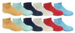 12 Units of 12 Pairs of SOCKSNBULK Kids Solid Colored Fuzzy Socks, #464,Assorted,4-6 - Girls Crew Socks