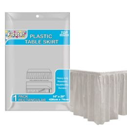 72 Units of Table Skirt Silver - Party Paper Goods