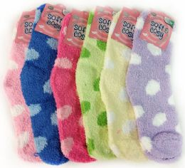 60 Units of Warm Soft Fuzzy Socks with Polka Dots Assorted Colors - Womens Fuzzy Socks